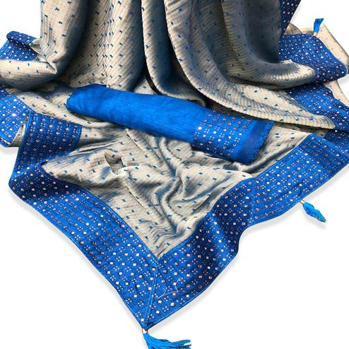 Intricate Grey-Blue Colored Partywear Embroidered Chiffon Saree