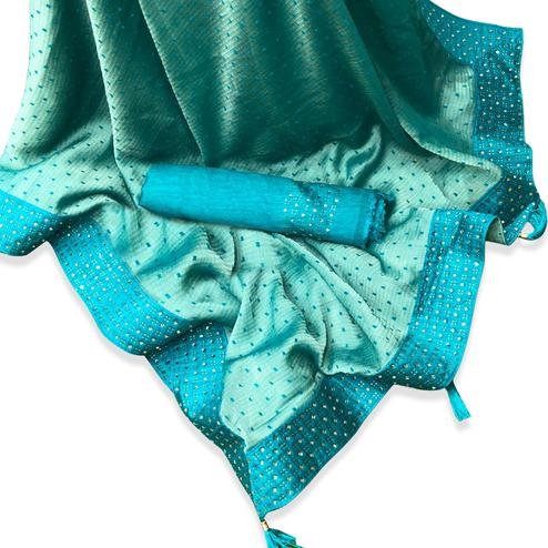 Desirable Aqua Green Colored Partywear Embroidered Chiffon Saree