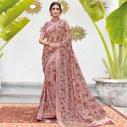 Adorable Pink Colored Partywear Floral Digital Print With Embroidered Border Silk Saree