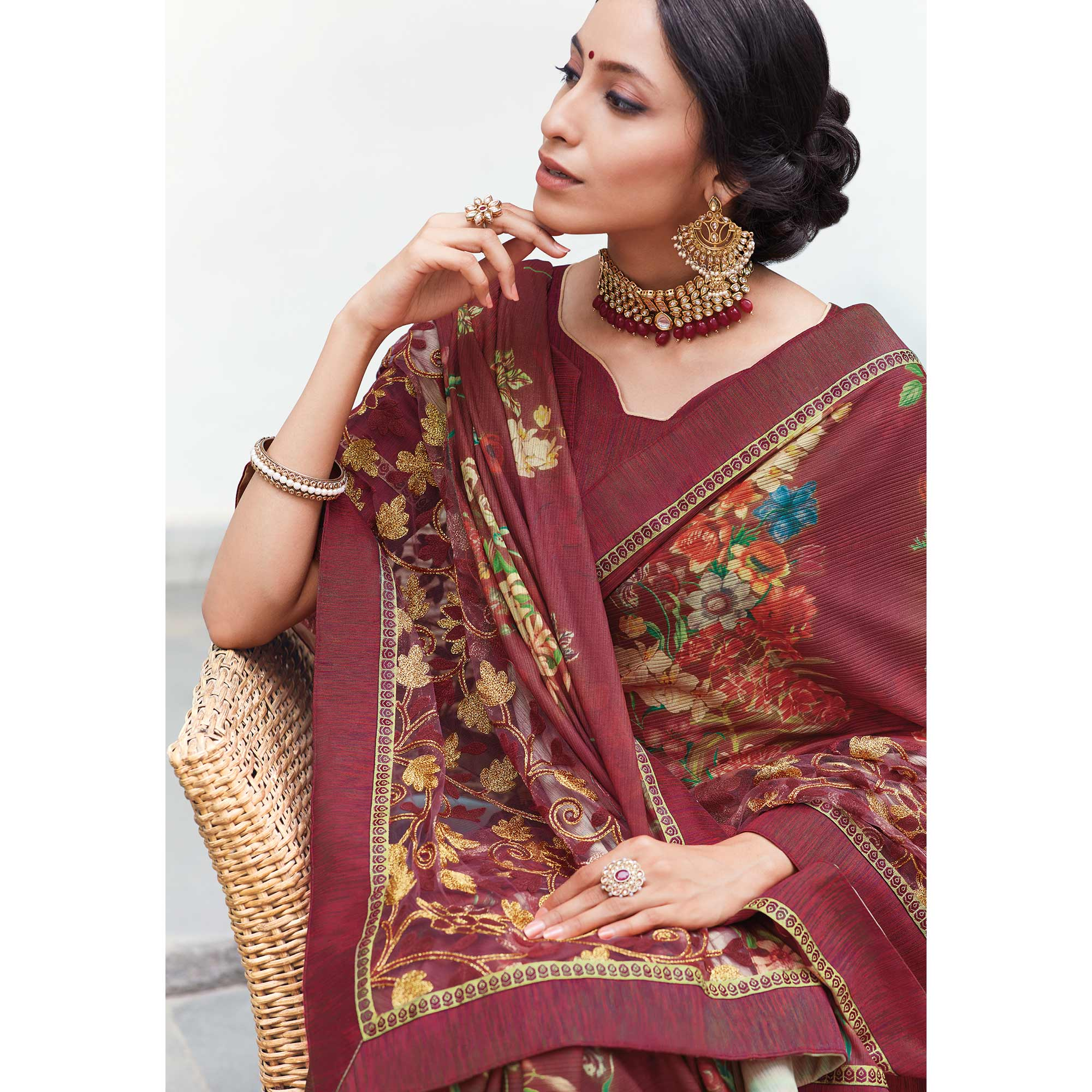 Glorious Maroon Colored Partywear Floral Digital Print With Embroidered Border Silk Saree