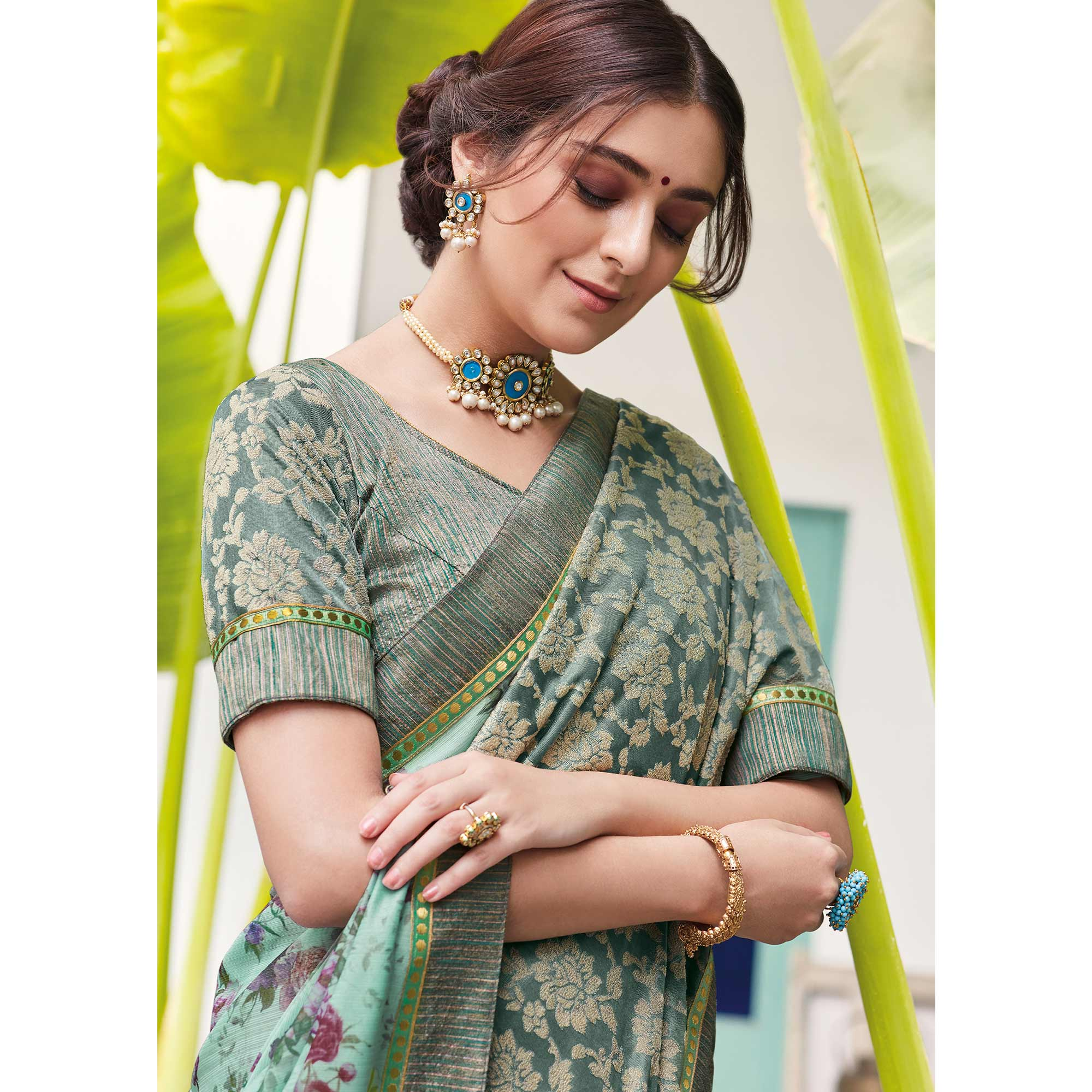 Attractive Aqua Blue Colored Partywear Floral Digital Print With Embroidered Border Silk Saree