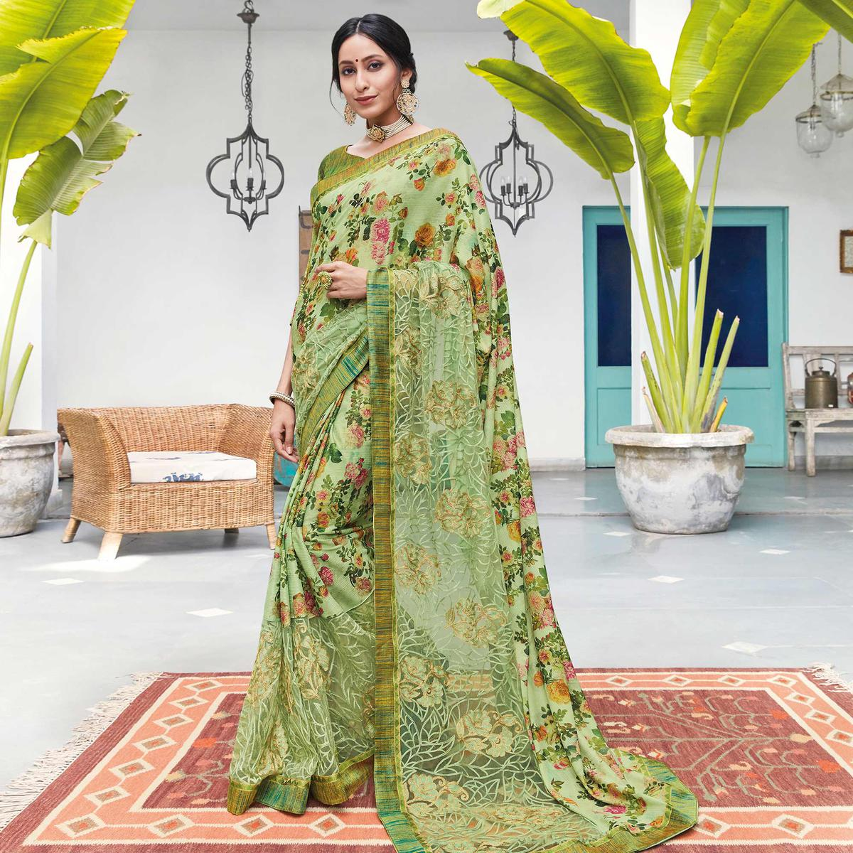 Graceful Green Colored Partywear Floral Digital Print With Embroidered Border Silk Saree