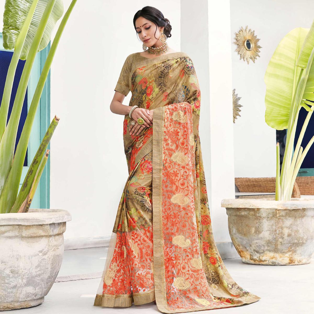 Blooming Beige Colored Partywear Floral Digital Print With Embroidered Border Silk Saree