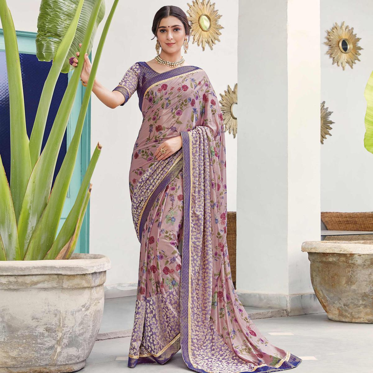 Charming Light Purple Colored Partywear Floral Digital Print With Embroidered Border Silk Saree