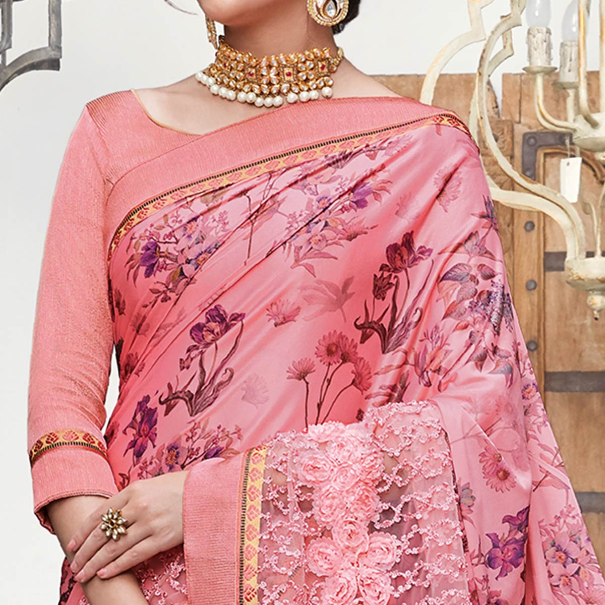 Captivating Pink Colored Partywear Floral Digital Print With Embroidered Border Silk Saree