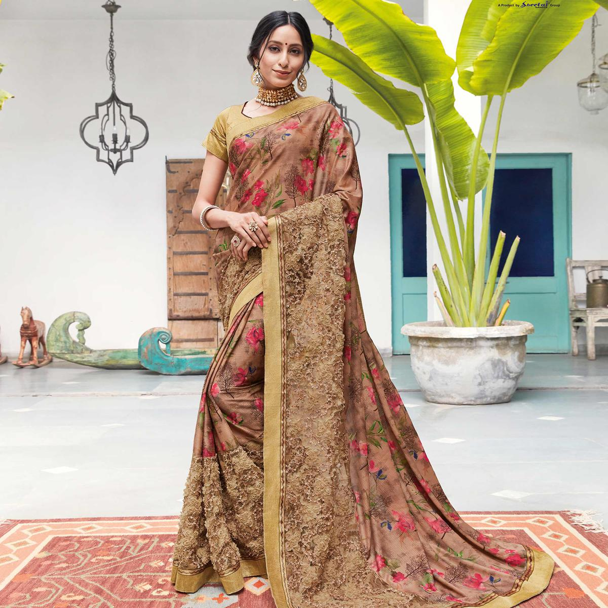 Innovative Brown Colored Partywear Floral Digital Print With Embroidered Border Silk Saree