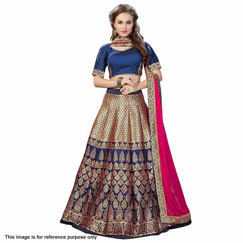 Magnetic Blue Colored Partywear Woven Banarasi Silk Jacquard Lehenga Choli