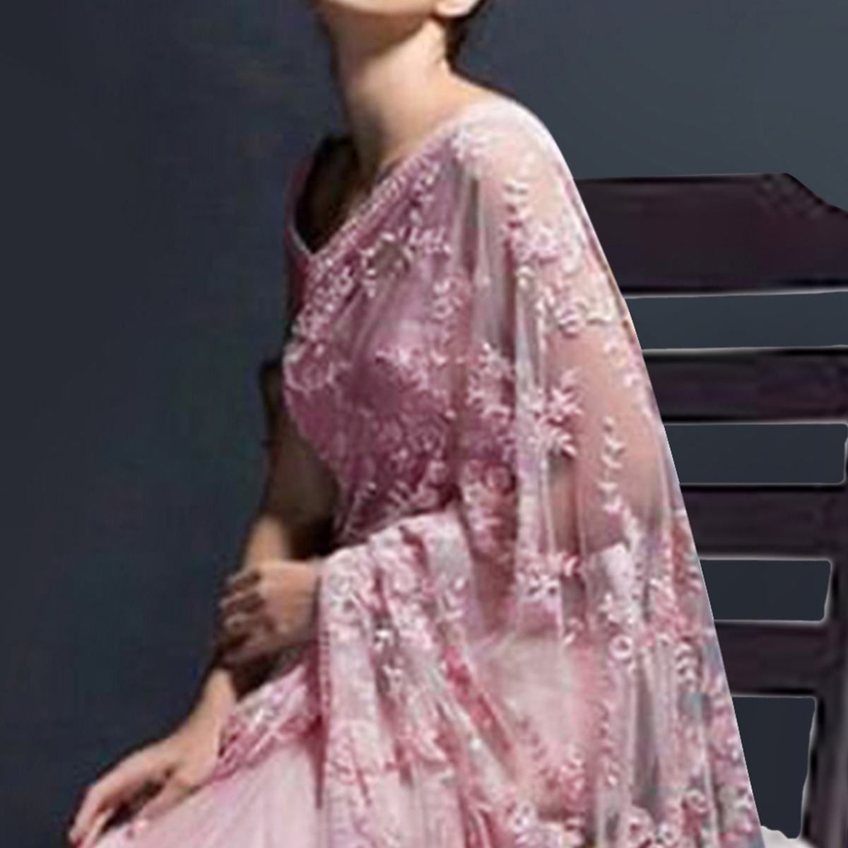 Excellent Light Pink Colored Partywear Floral Embroidered Organza Saree