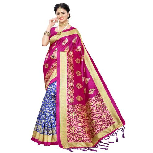 Trendy Blue-Pink Colored Festive Wear Woven Art Silk Half-Half Saree