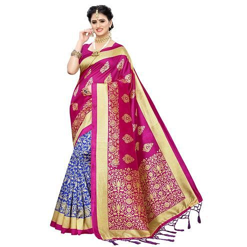 Trendy Blue-Pink Colored Festive Wear Woven Art Silk Half-Half Saree With Tassels