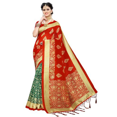 Attractive Green-Red Colored Festive Wear Woven Art Silk Half-Half Saree With Tassels