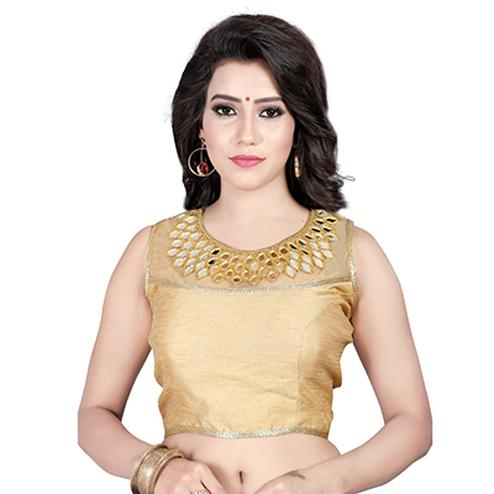 Golden Banglori Silk Stitched Saree Blouse