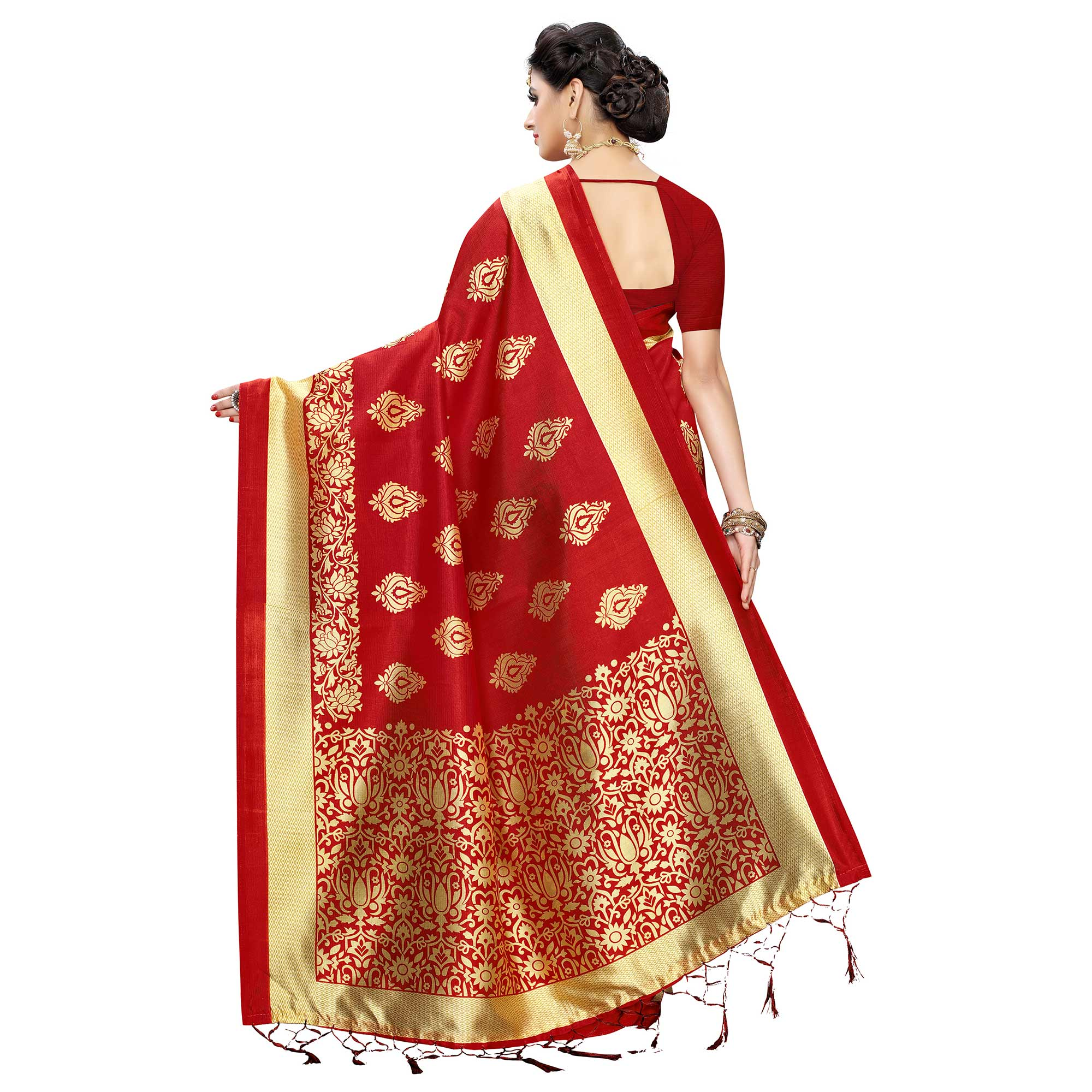 Graceful Blue-Red Colored Festive Wear Woven Art Silk Half-Half Saree With Tassels