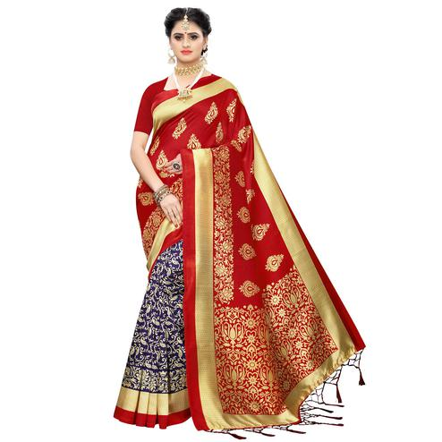 Graceful Blue-Red Colored Festive Wear Woven Art Silk Half-Half Saree