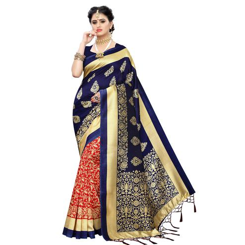Blooming Red-Blue Colored Festive Wear Woven Art Silk Half-Half Saree With Tassels