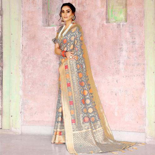 Sophisticated Grey Colored Festive Wear Woven Silk Saree
