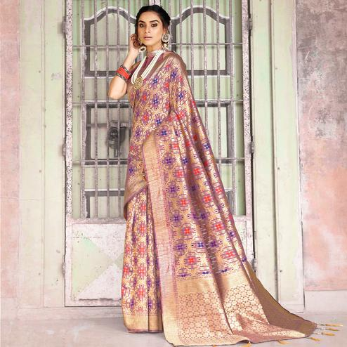 Elegant Light Purple Colored Festive Wear Woven Silk Saree