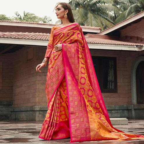 Unique Pink-Orange Colored Festive Wear Woven Silk Saree