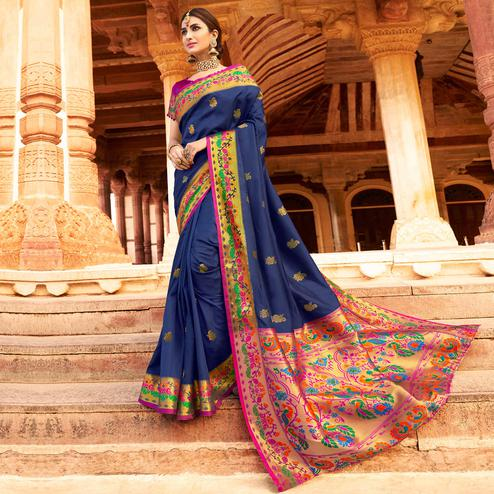 Majesty Navy Blue Colored Festive Wear Woven Paithani Silk Saree
