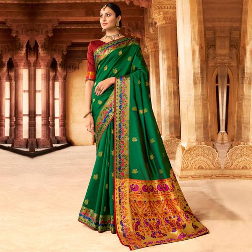 Pleasance Dark Green Colored Festive Wear Woven Paithani Silk Saree