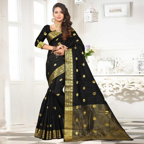 Blissful Black Colored Festive Wear Woven Cotton Silk Saree