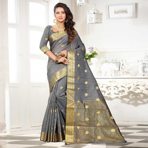 Demanding Grey Colored Festive Wear Woven Cotton Silk Saree