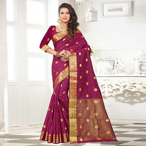 Mesmeric Dark Pink Colored Festive Wear Woven Cotton Silk Saree