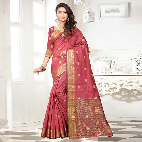 Eye-catching Light Pink Colored Festive Wear Woven Cotton Silk Saree