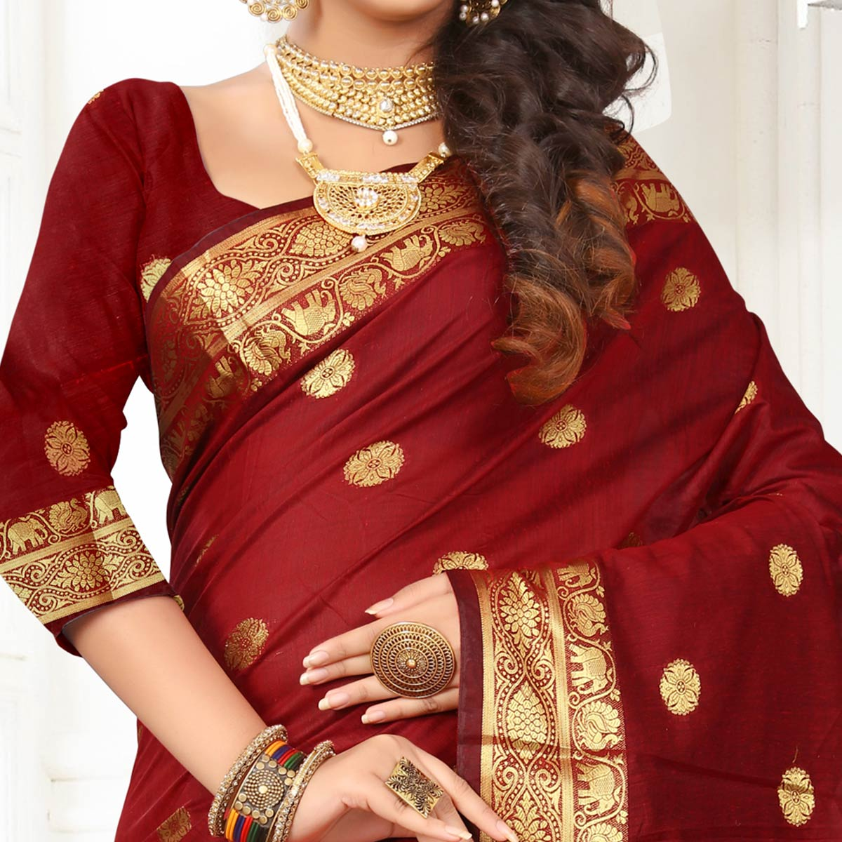 Amazing Maroon Colored Festive Wear Woven Cotton Silk Saree