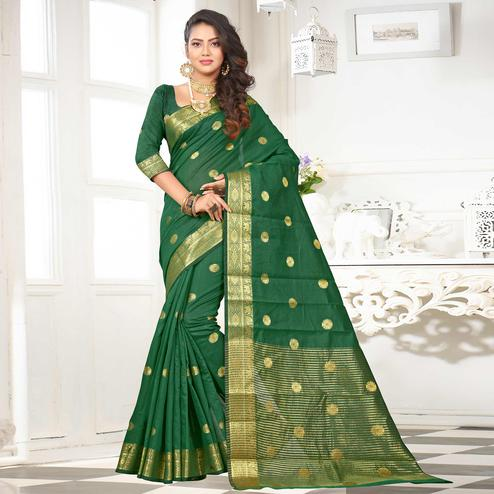 Radiant Green Colored Festive Wear Woven Cotton Silk Saree