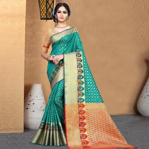 Trendy Turquoise Green Colored Festive Wear Woven Chanderi Silk Saree