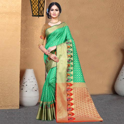Sophisticated Green Colored Festive Wear Woven Chanderi Silk Saree