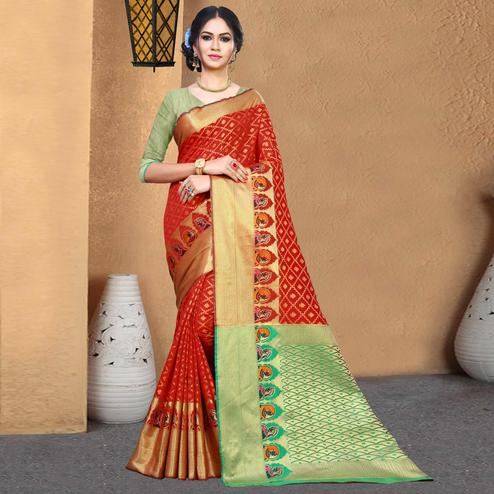 Graceful Red Colored Festive Wear Woven Chanderi Silk Saree