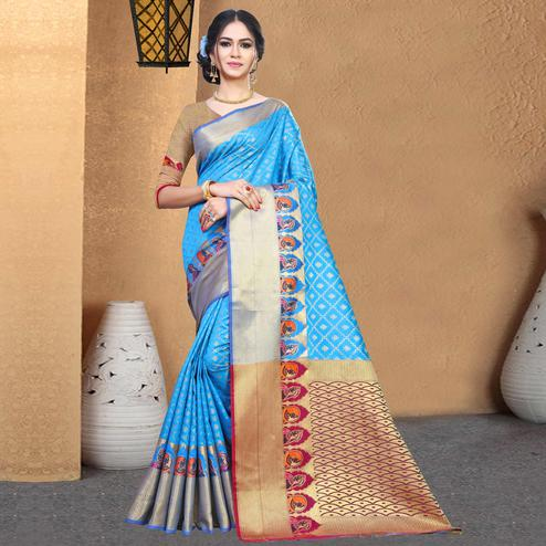 Charming Light Blue Colored Festive Wear Woven Chanderi Silk Saree
