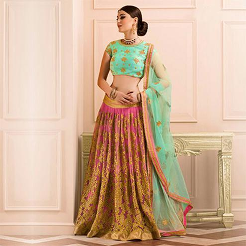 Pink - Pastel Green Wedding Wear Lehenga Choli