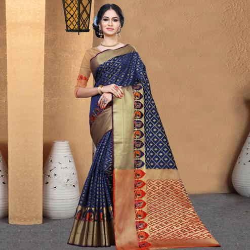 Engrossing Navy Blue Colored Festive Wear Woven Chanderi Silk Saree