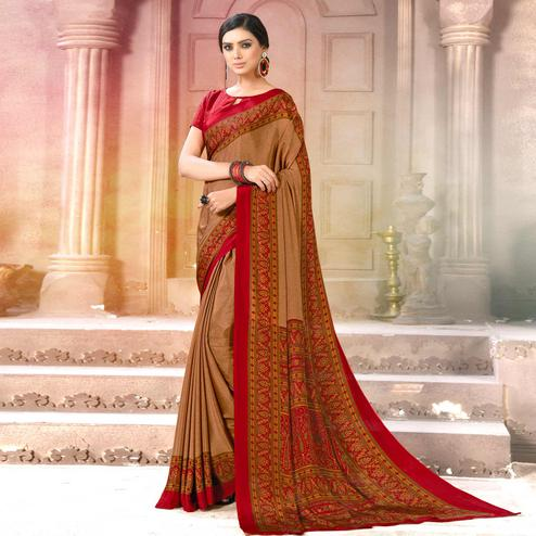 Arresting Brown Colored Casual Wear Printed Crepe Saree