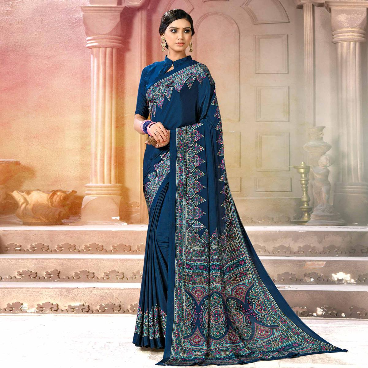 Trendy Blue Colored Casual Wear Printed Crepe Saree