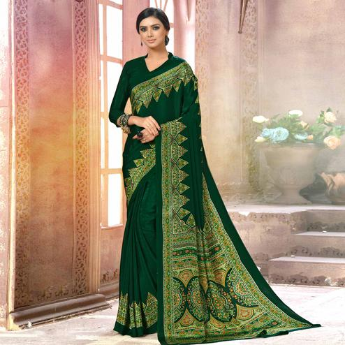 Radiant Dark Green Colored Casual Wear Printed Crepe Saree
