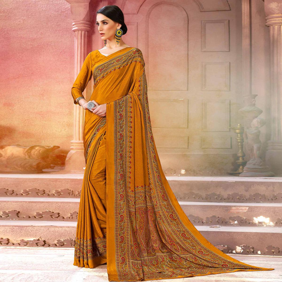 Pleasant Mustard Yellow Colored Casual Wear Printed Crepe Saree