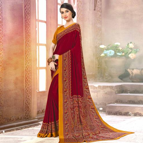 Energetic Maroon Colored Casual Wear Printed Crepe Saree