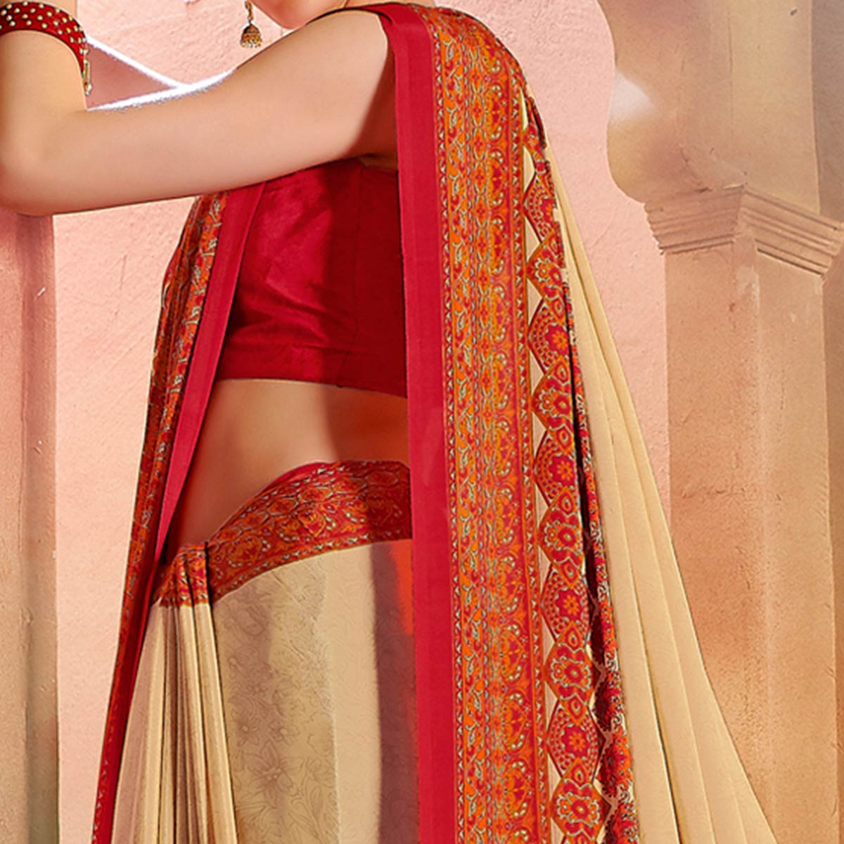 Glowing Cream-Red Colored Casual Wear Printed Crepe Saree