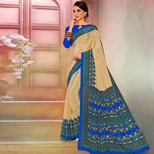Exceptional Cream-Blue Colored Casual Wear Printed Crepe Saree
