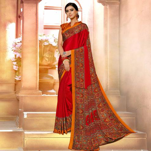 Mesmeric Red Colored Casual Wear Printed Crepe Saree