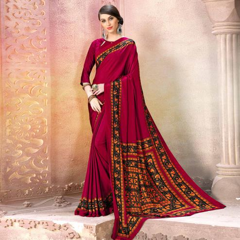 Unique Magenta Pink Colored Casual Wear Printed Crepe Saree