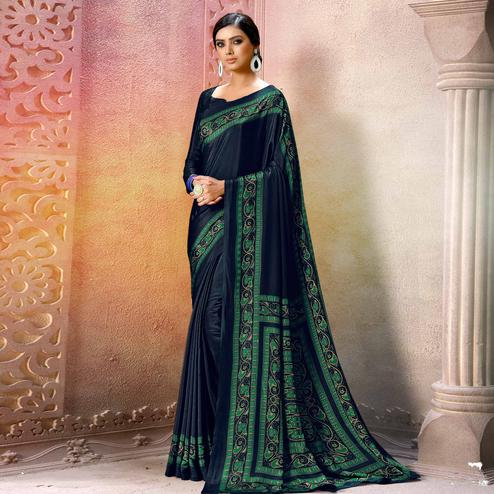 Demanding Black Colored Casual Wear Printed Crepe Saree
