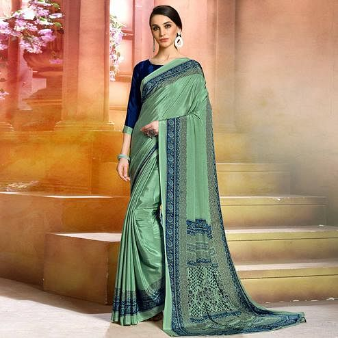 Refreshing Aqua Green Colored Casual Wear Printed Crepe Saree