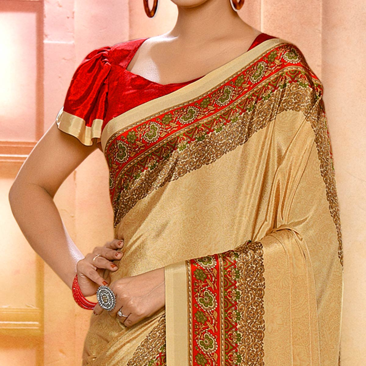 Magnetic Beige Colored Casual Wear Printed Crepe Saree