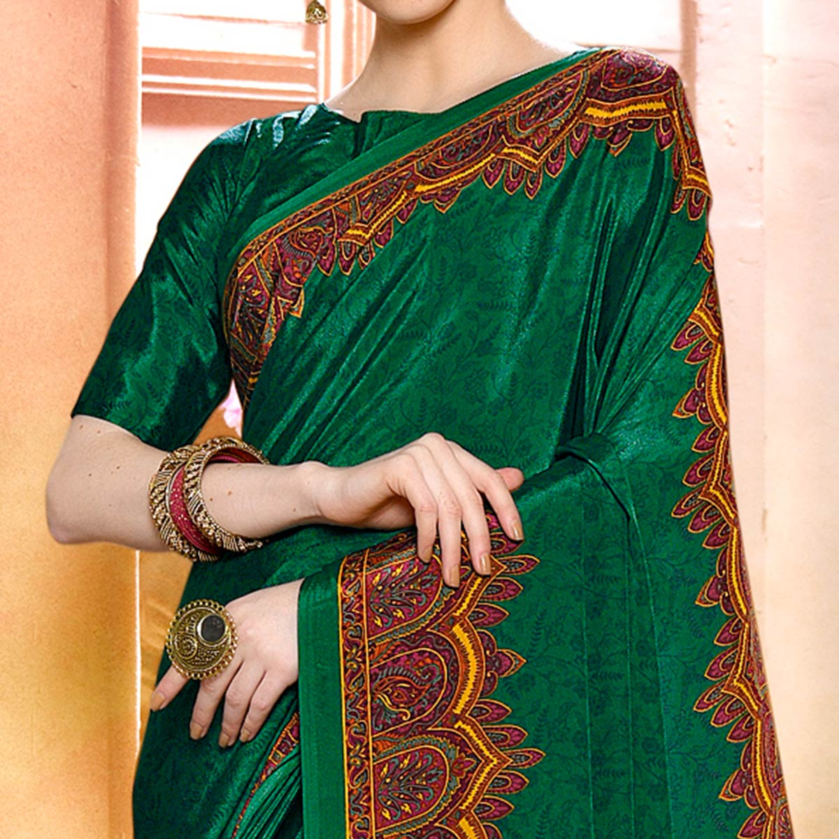 Hypnotic Green Colored Casual Wear Printed Crepe Saree