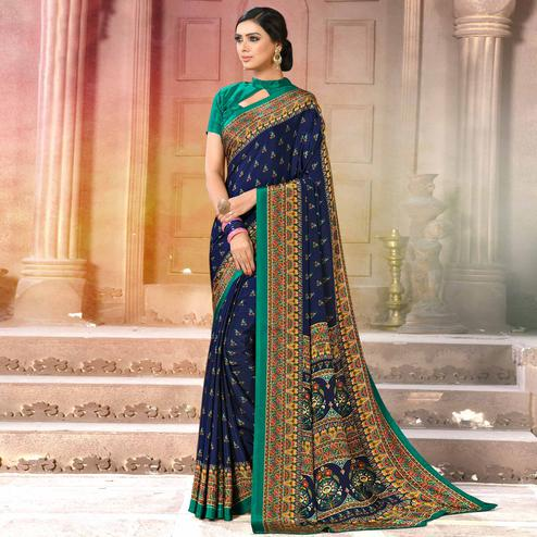Excellent Navy Blue Colored Casual Wear Printed Crepe Saree